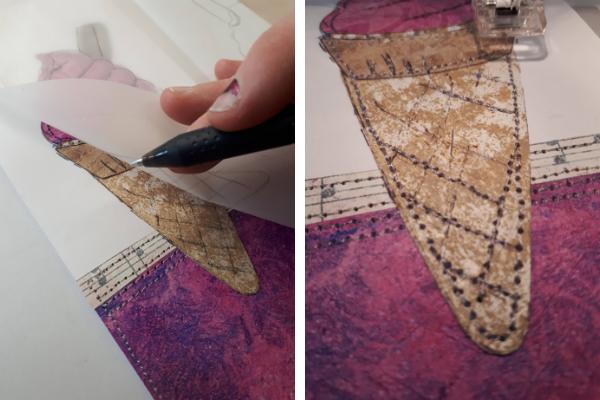 Transferring stitching line and free stitching