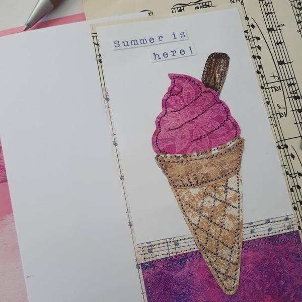 Mounted ice cream on coloured card