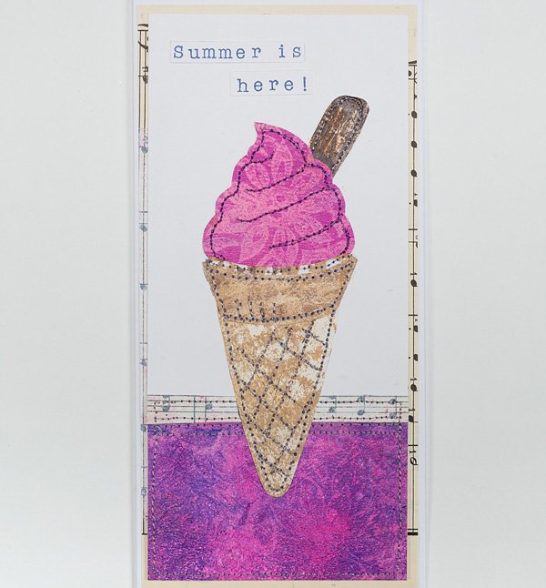Finished collaged ice cream cone card