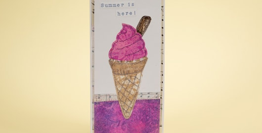 'Summer is here' collaged ice cream cone card embellished with machine stitching