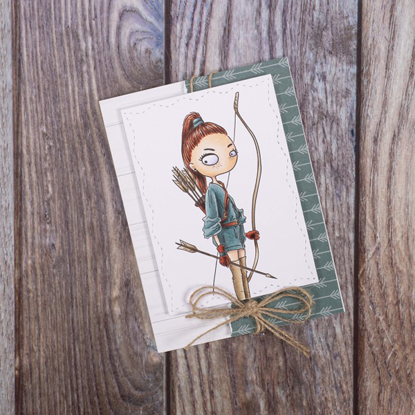 Sagittarius digi stamp card of woman with bow and arrow