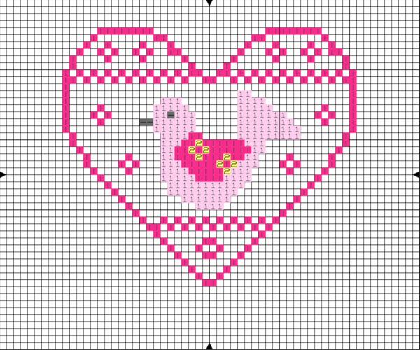 Scandi bird cross stitch chart design Nicola Hulks