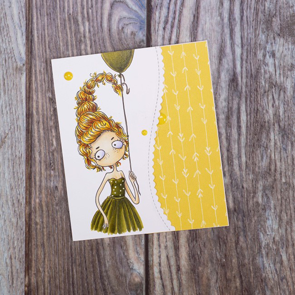 Scorpio digi stamp card with woman holding a balloon