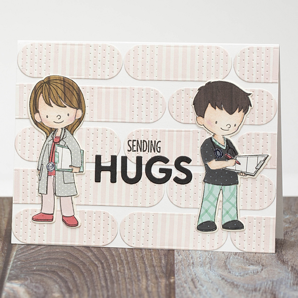 Sending hugs card with doctor and nurse