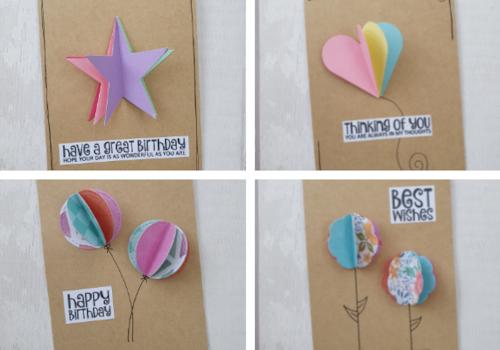 Four pop up card designs