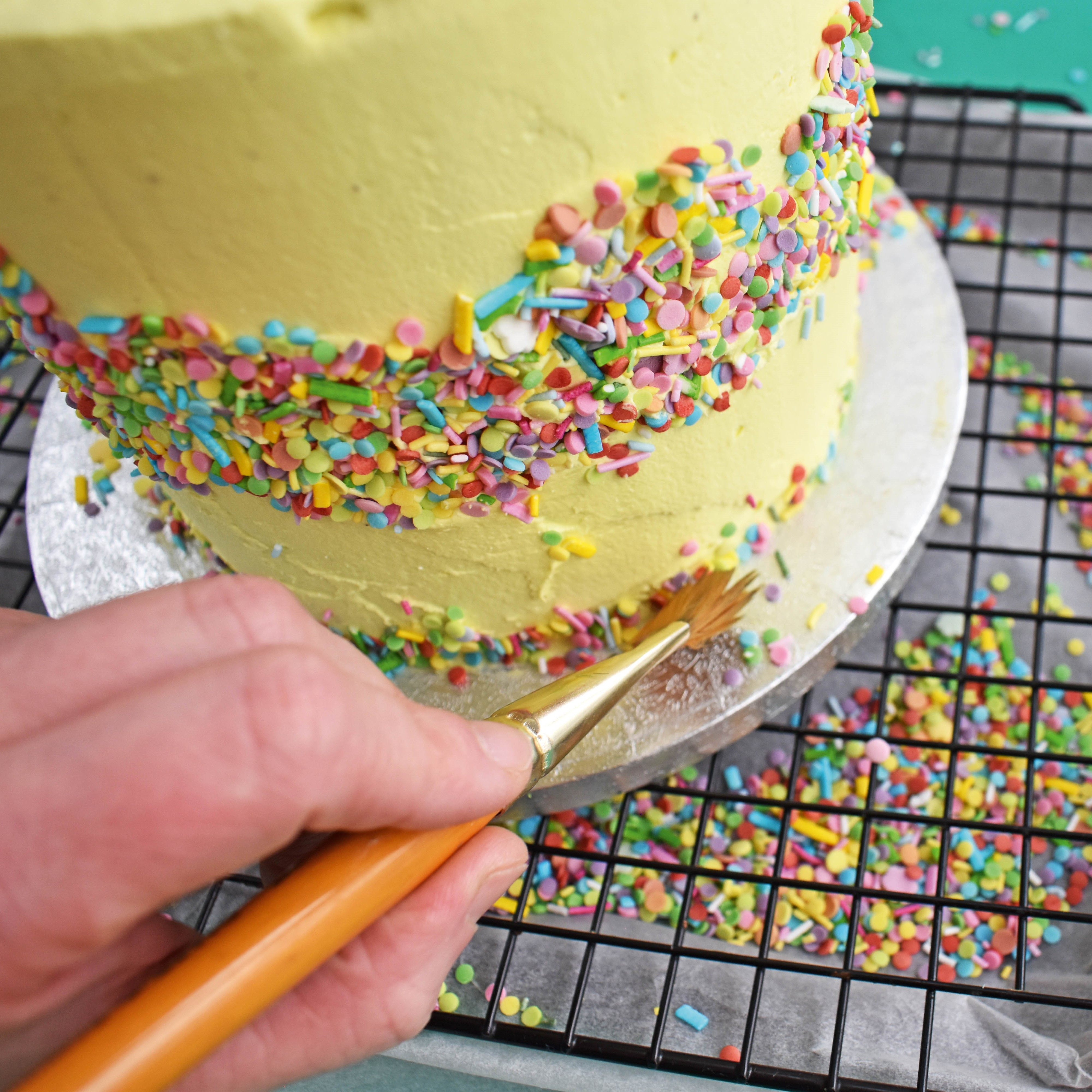 fault line cake with sprinkles step 8