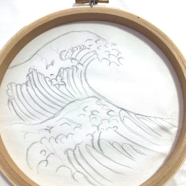 The Great Wave pattern on fabric