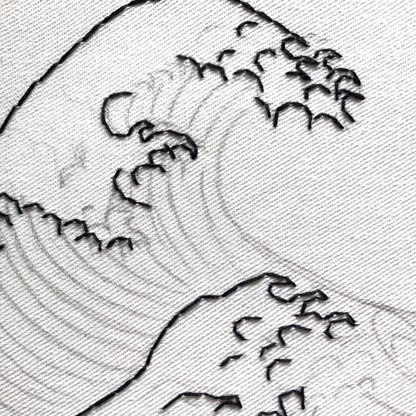 Adding stitching to The Great Wave pattern