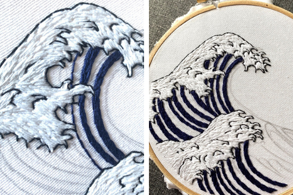 Hand stitched waves in progress