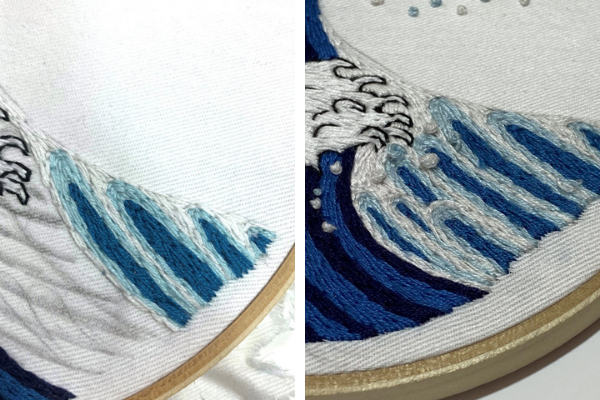 Sides of the waves stitched