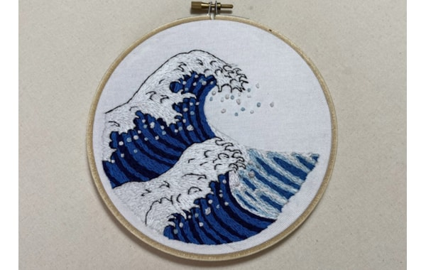 The Great Wave off Kanagawa hand embroidery in hoop