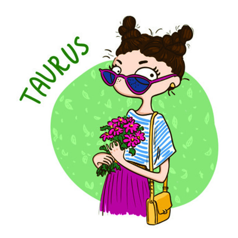 Taurus digi stamp illustration of girl holding flowers