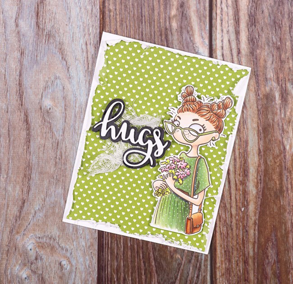 Taurus digi stamp with girl holding flowers