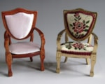 Upholstered miniature dolls house chair