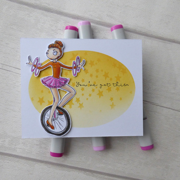 Unicyclist digi stamp card project with sentiment