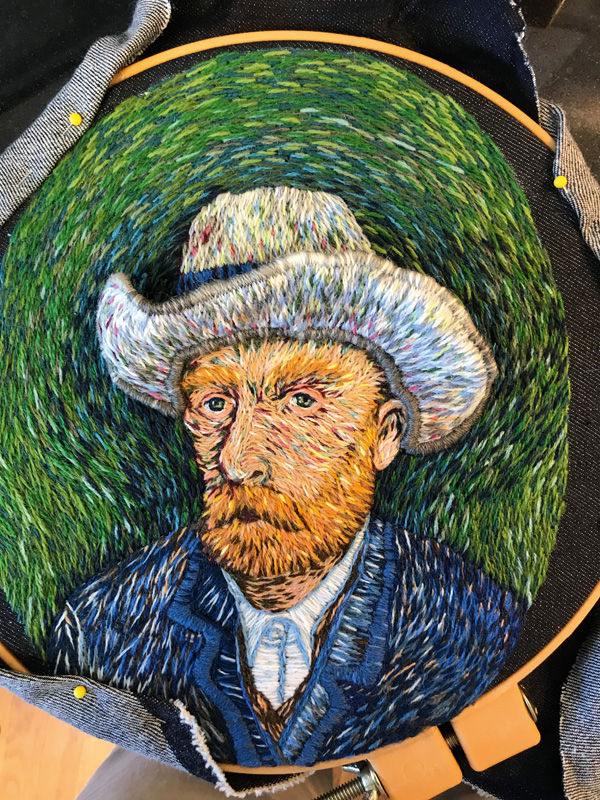 Nearly completed Vincent Van Gogh hand embroidery by Catherine Hicks