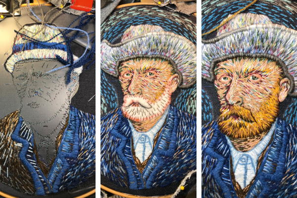 Van Gogh classic portrait embroidery by Catherine Hicks in progress