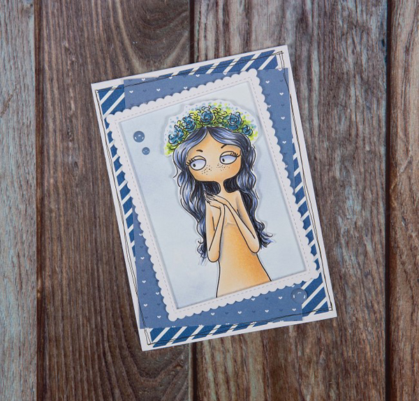Virgo digi stamp card with girl with flower headpiece