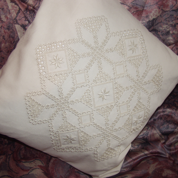 Whitework embroidered cushion by Carol Leather