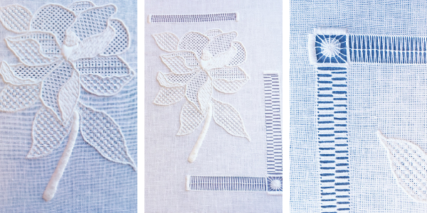Whitework embroidery magnolia by Lauren Yaeger