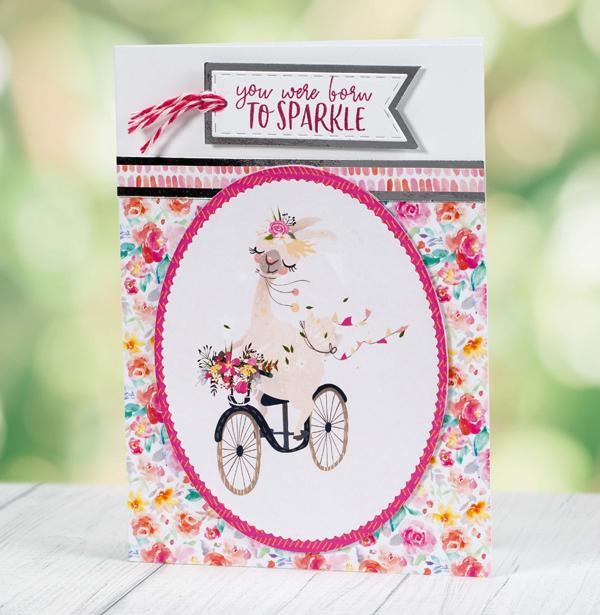 You Were Born To Sparkle llama birthday card