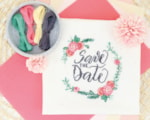 Zweigart save the date cross stitch design finished