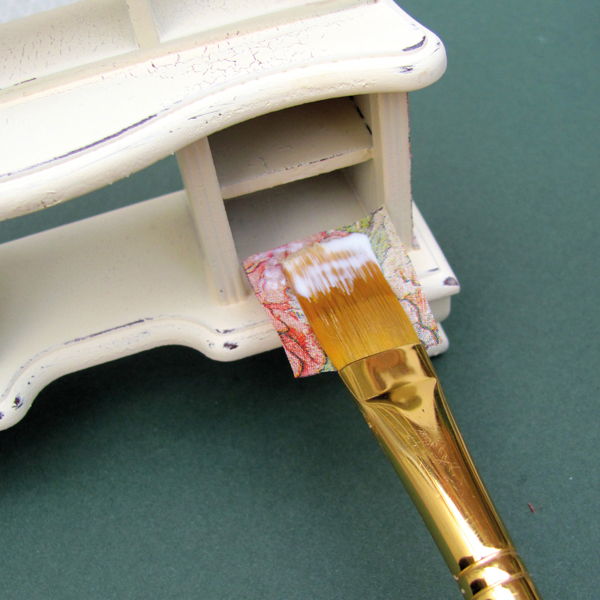 applying-decoupage-paper-to-miniature-furniture