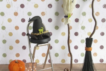broomstick and witches hat