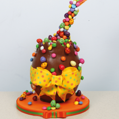 anti-gravity easter egg cake