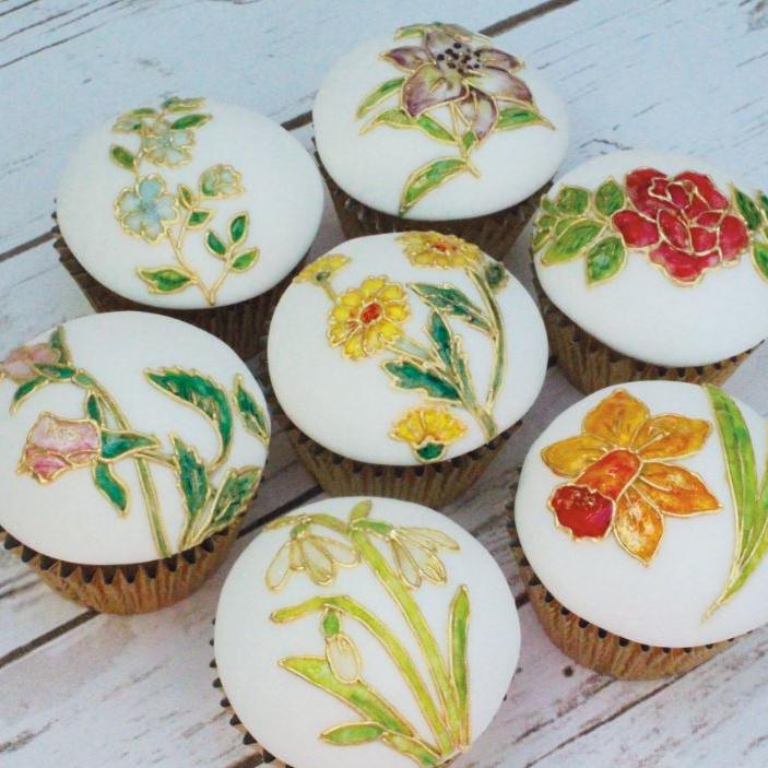 enamel effect spring cupcakes