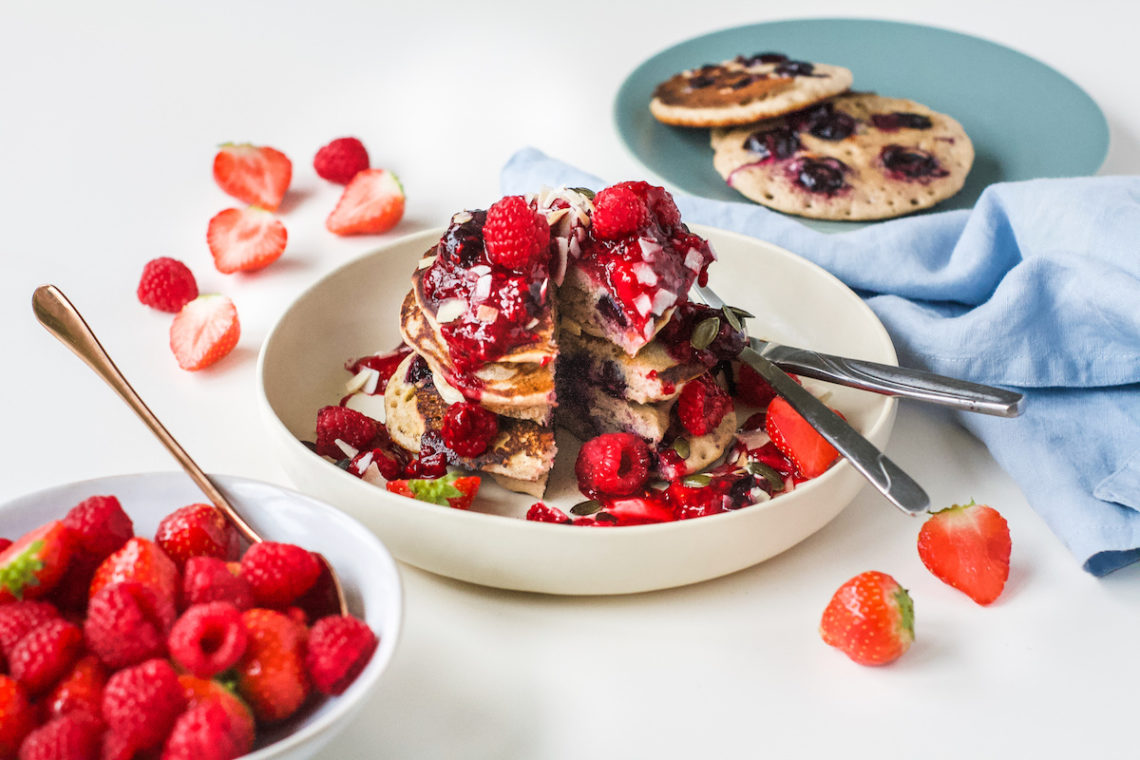 LOVE FRESH BERRIES BUCKWHEAT BLUEBERRY PANCAKES