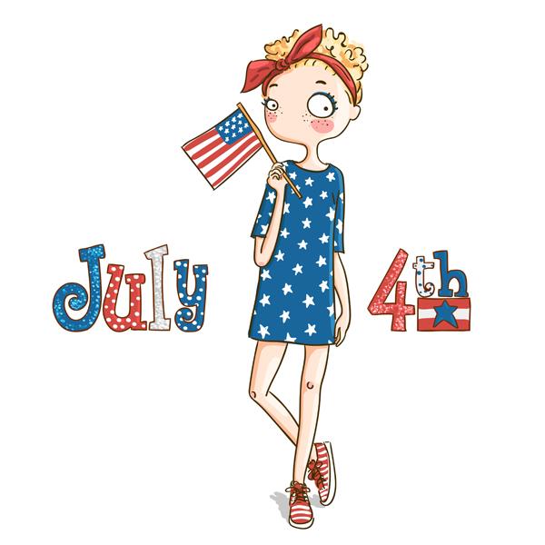 girl-holding-usa-flag-july-4-digi-stamp
