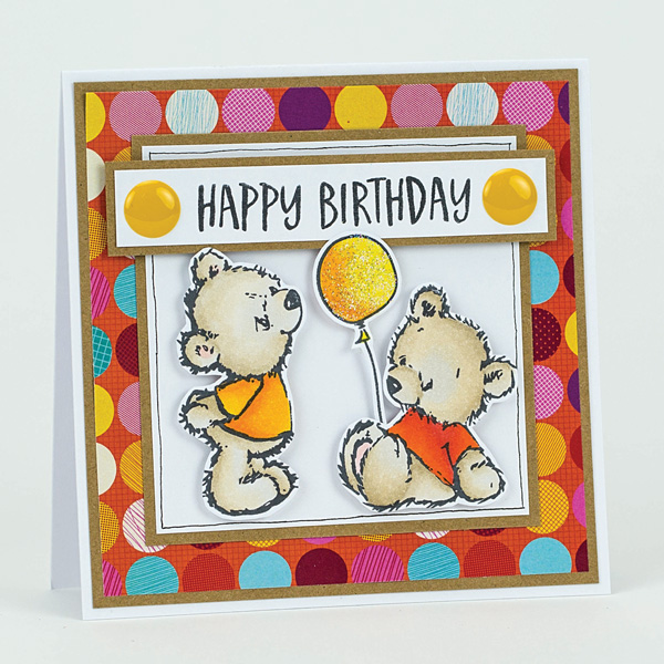 happy birthday balloon homemade bear card