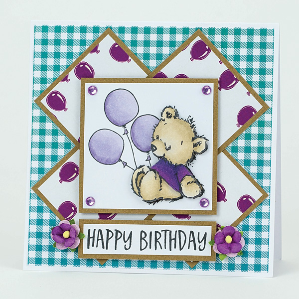 happy birthday decoupage bear card