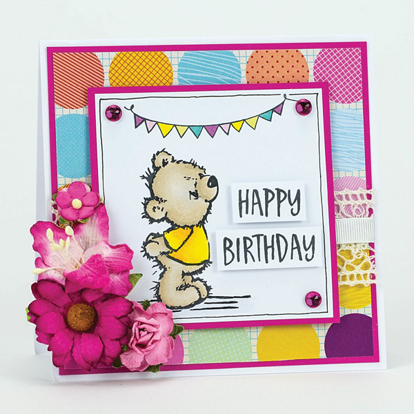 happy birthday handmade teddy bear card