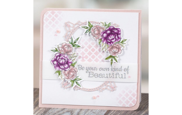 inked peony card with sentiment