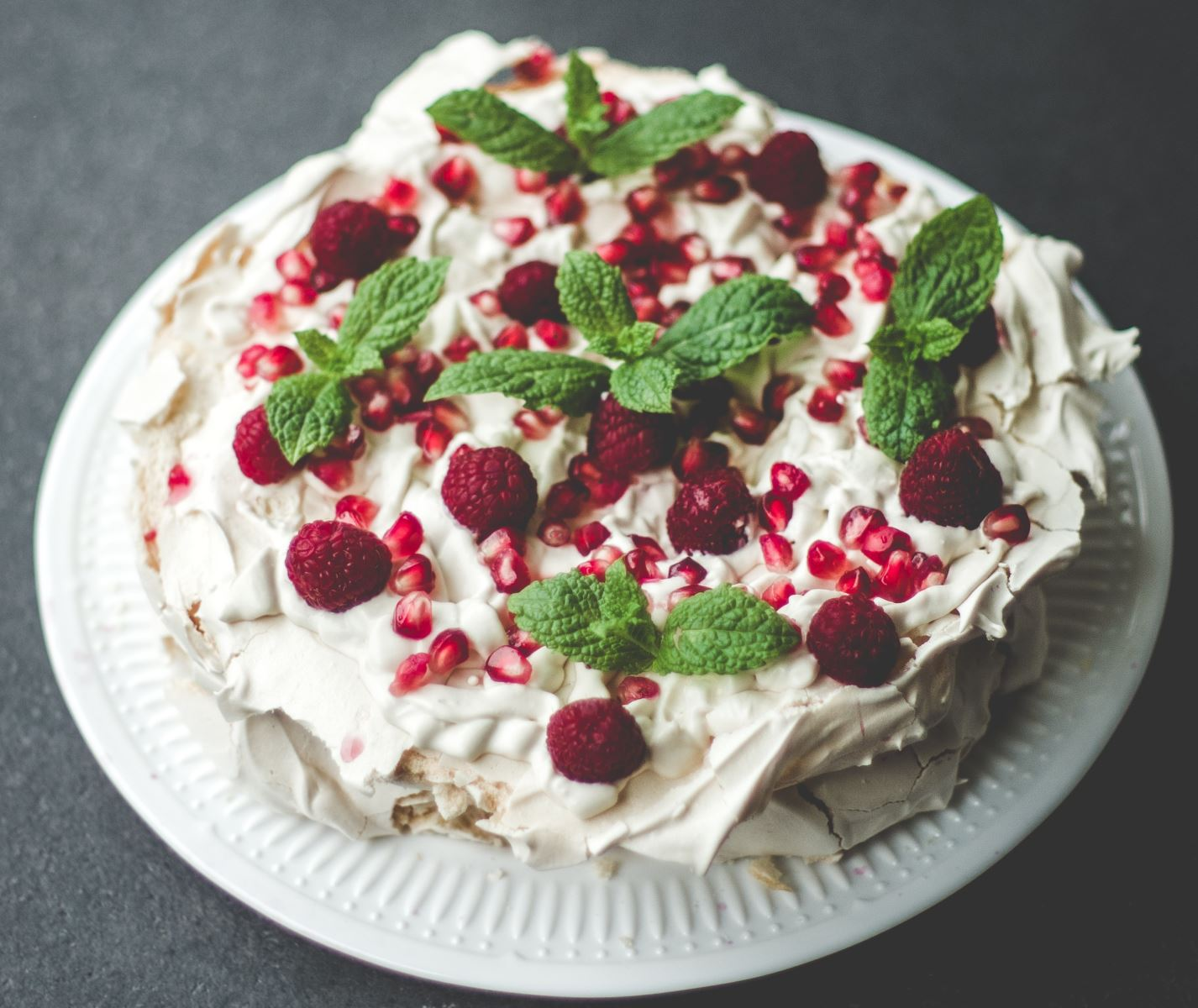 Cake covered with meringue