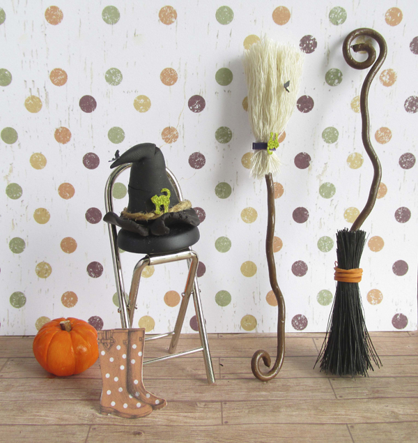 miniature broomstitck and witches hat