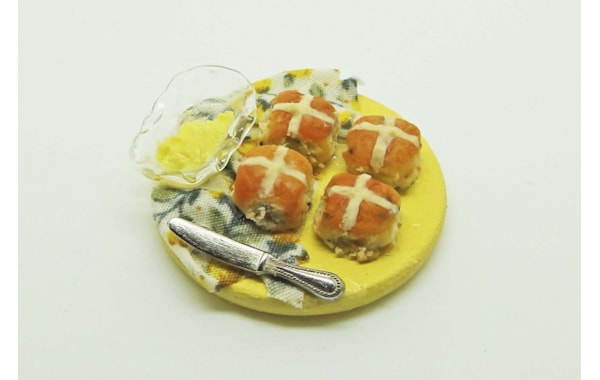 miniature hot cross buns in polymer clay