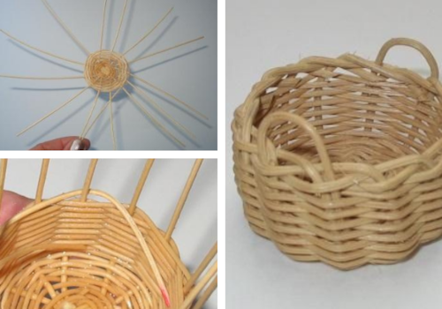 how to weave a miniature log basket