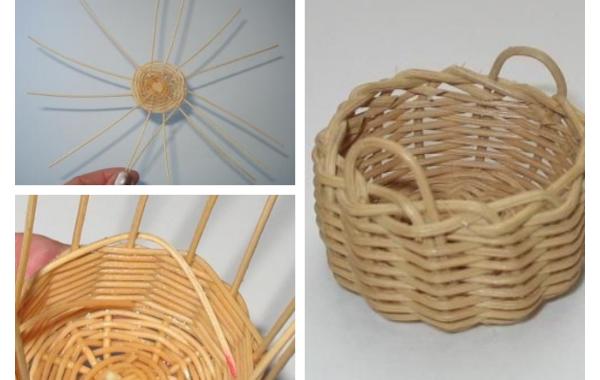how to weave a miniature log basket