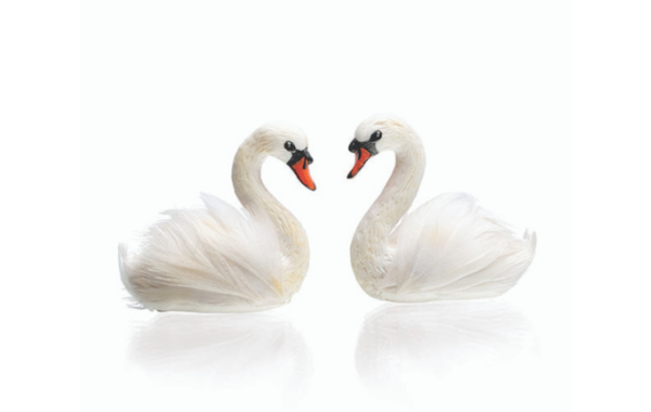 miniature swans in polymer clay