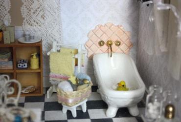 Dolls house miniature bathroom with DIY tiles