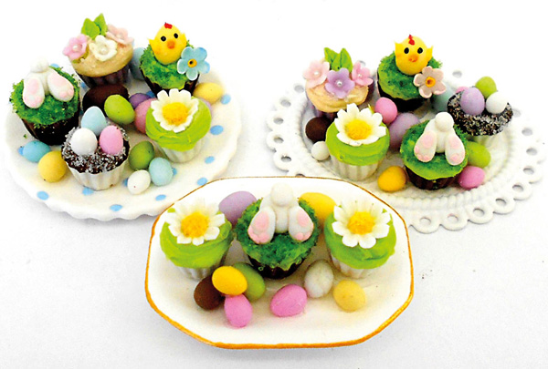 Miniature easter cupcakes made by Loredana Tonetti from Cold Porcelain