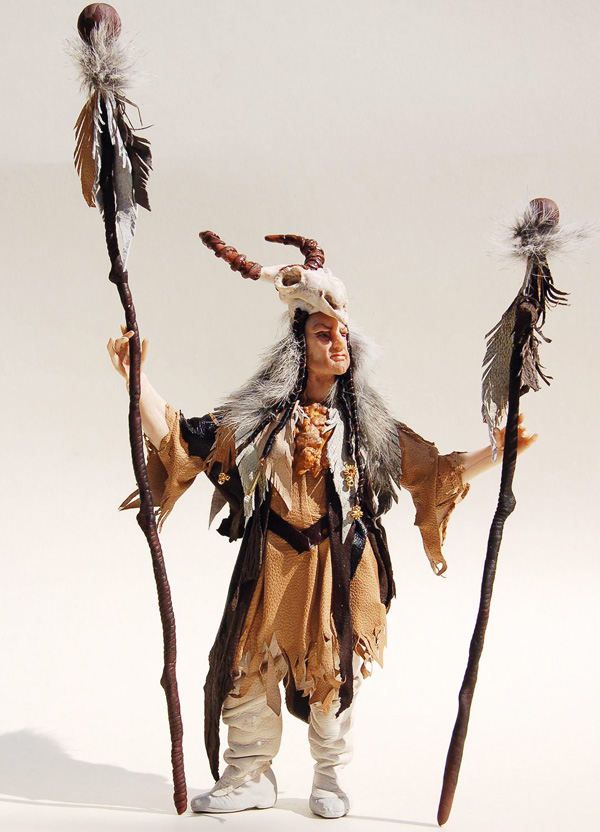 The Chieftain by Jamie Carrington. Polymer clay and mixed media (leather, feathers, fur)