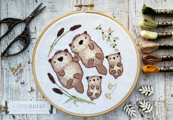Otter Family cross stitch kit by Little Beach Hut