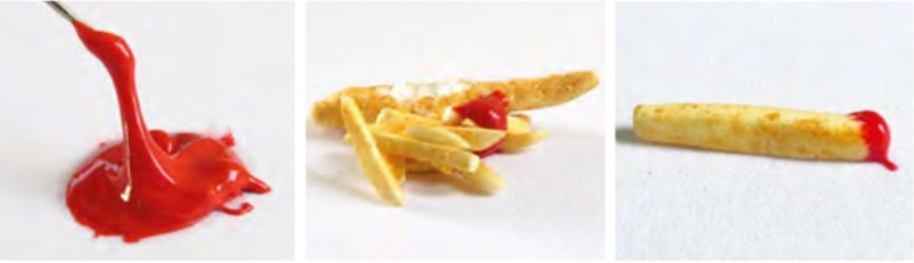 polymer clay fish and chips with tomato sauce