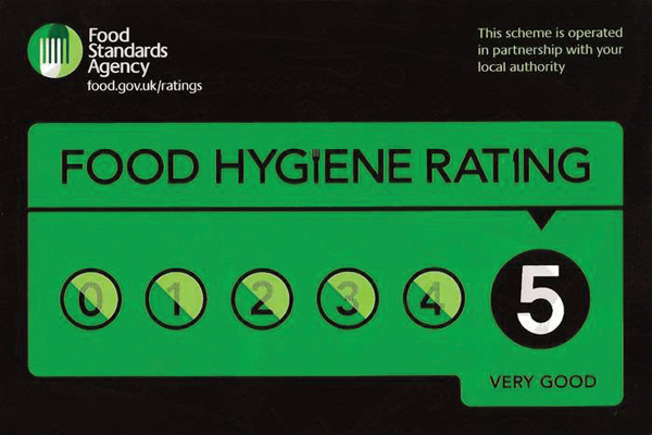 setting up a cake business - food hygiene rating chart