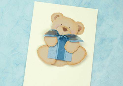 Torn paper teddy bear card topper