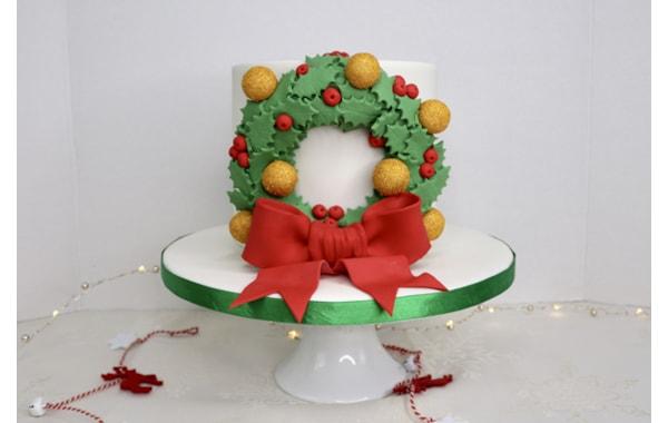 wreath Christmas cake tutorial